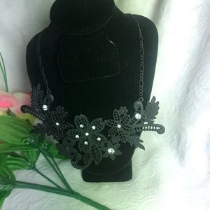 Black Floral Necklace with Rhinestone Details